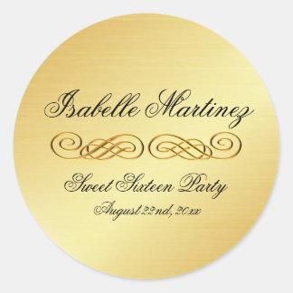 Elegant Gold Personalized Sweet Sixteen Sticker