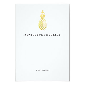 Elegant Gold Pineapple Advice for the Bride Card