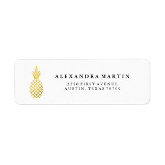 Elegant Gold Pineapple Label