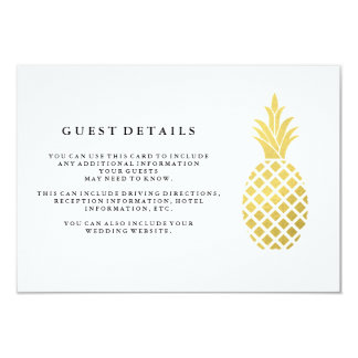 Elegant Gold Pineapple Wedding Guest Details Card