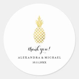 Elegant Gold Pineapple Wedding Thank You Classic Round Sticker
