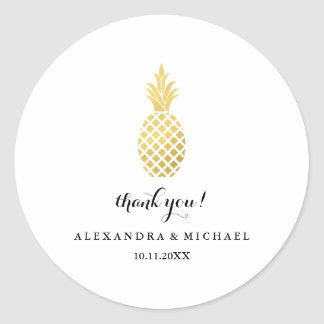 Elegant Gold Pineapple Wedding Thank You Classic Round Sticker