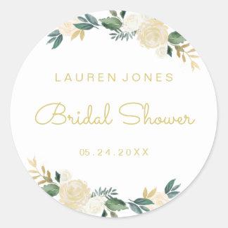 Elegant Gold Pink Floral Bridal Shower Sticker