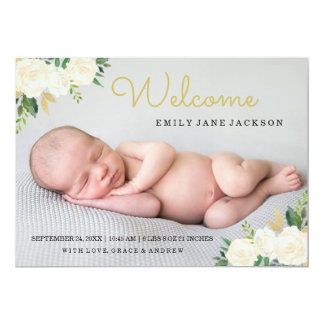 Elegant Gold Pink Floral Photo Birth Announcement