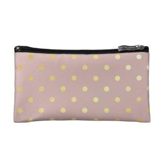 elegant gold pink polka dots cosmetic bag
