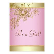 Elegant Gold Pink Snowflake Baby Girl Shower Card