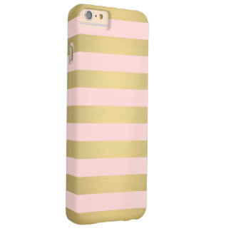 Elegant Gold Pink Stripes Metallic Luxury Barely There iPhone 6 Plus Case
