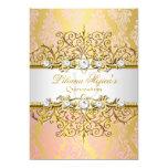 Elegant Gold Pink Vintage Glamour Quinceanera Card