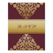elegant gold pink wedding RSVP Card