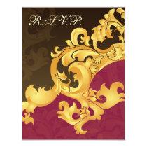elegant gold pink  wedding RSVP Card