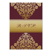 elegant gold pink wedding RSVP Standard 3.5 x 5 Card