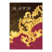elegant gold pink  wedding RSVP Standard 3.5 x 5 Card