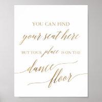 Elegant Gold Place Card Dance Floor Sign