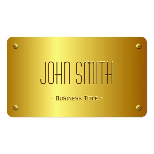 Elegant Gold Plate Look - Simple Plain Gold Business Card Template