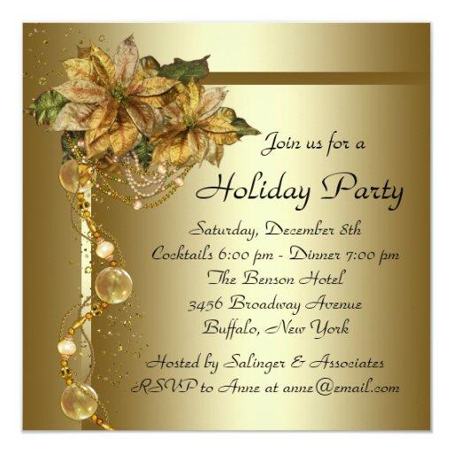 Elegant Gold Poinsettia Black Gold Christmas Party Card ...