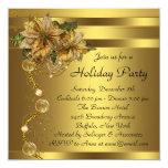 Elegant Gold Poinsettia Black Gold Christmas Party Card