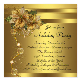 Elegant Gold Poinsettia Black Gold Christmas Party Card at Zazzle