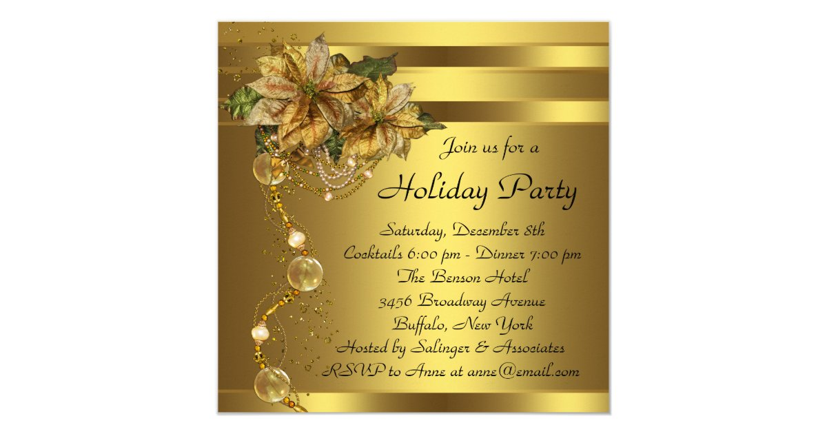 Gold Black Christmas Party Invitations & Announcements | Zazzle