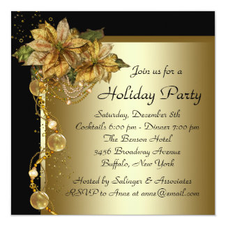 Elegant Gold Poinsettia Black Gold Christmas Party Card