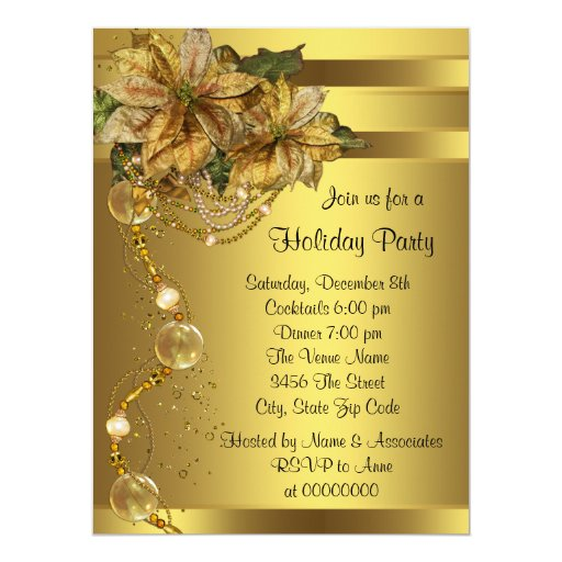 Elegant Gold Poinsettia Black Gold Christmas Party Personalized Announcement
