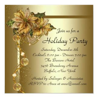 Elegant Gold Poinsettia Black Gold Christmas Party Personalized Invitation