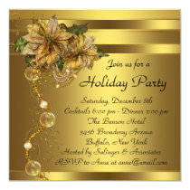 Elegant Gold Poinsettia Black Gold Christmas Party Invitation