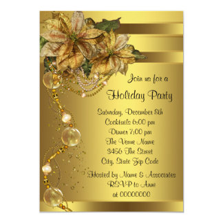 Elegant Gold Poinsettia Christmas Party Card