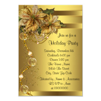 Elegant Gold Poinsettia Gold Christmas Party 3.5x5 Paper Invitation Card