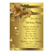 Elegant Gold Poinsettia Gold Christmas Party Invitation