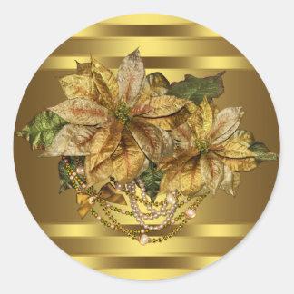 Elegant Gold Poinsettia Stickers