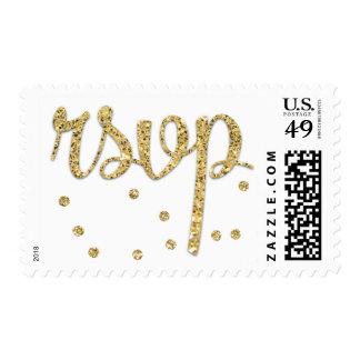 Elegant Gold Polka-dots Confetti RSVP Postage