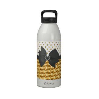 Elegant Gold Polka Dots Glitter Photo Print Drinking Bottle