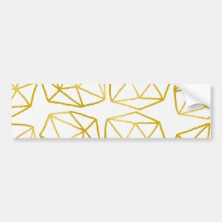 Elegant Gold Polygonal Unique Geometric Pattern Bumper Sticker