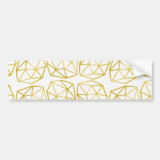 Elegant Gold Polygonal Unique Geometric Pattern Car Bumper Sticker