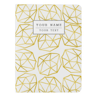 Elegant Gold Polygonal Unique Geometric Pattern Extra Large Moleskine Notebook Cover With Notebook