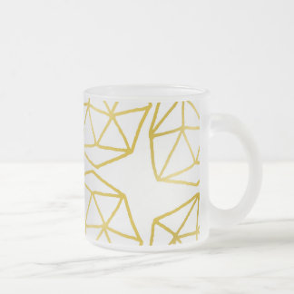 Elegant Gold Polygonal Unique Geometric Pattern Frosted Glass Coffee Mug