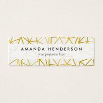 Elegant Gold Polygonal Unique Geometric Pattern Mini Business Card