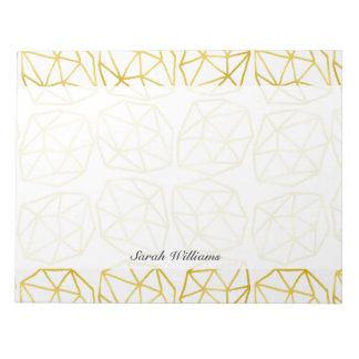 Elegant Gold Polygonal Unique Geometric Pattern Note Pad
