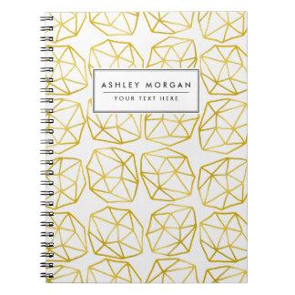 Elegant Gold Polygonal Unique Geometric Pattern Notebooks