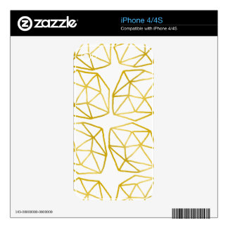 Elegant Gold Polygonal Unique Geometric Pattern Skins For The iPhone 4