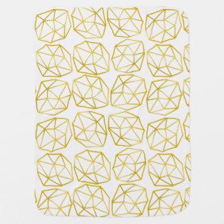 Elegant Gold Polygonal Unique Geometric Pattern Swaddle Blanket