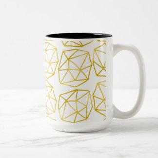 Elegant Gold Polygonal Unique Geometric Pattern Two-Tone Coffee Mug