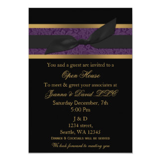 """Elegant Gold purple Corporate party Invitation 5"""" X 7"""" Invitation Card"""