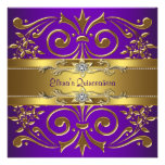 Elegant Gold Purple Quinceanera Invitations