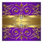Elegant Gold Purple Quinceanera Invitations