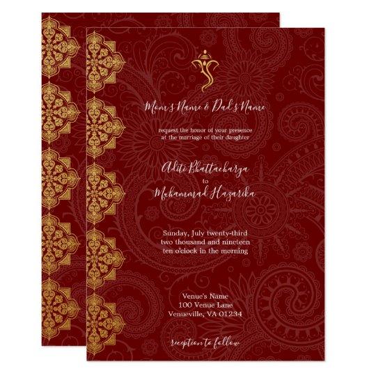Ganesh Wedding Invitations: Elegant Gold & Red Ganesha Indian Wedding Invitation