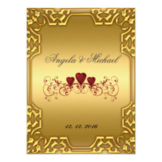 Elegant  Gold Red Hearts Wedding Invitation
