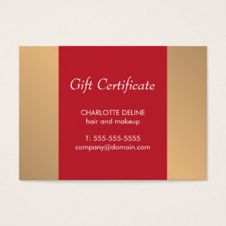 Elegant Gold Red Holiday Gift Certificate Beauty