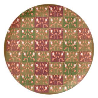 Elegant Gold Red Jewel Pattern GOODluck symbol fun Party Plate