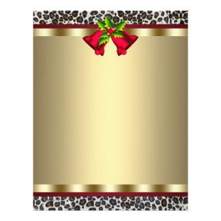Elegant Gold Red Leopard Christmas Letterhead Flyers